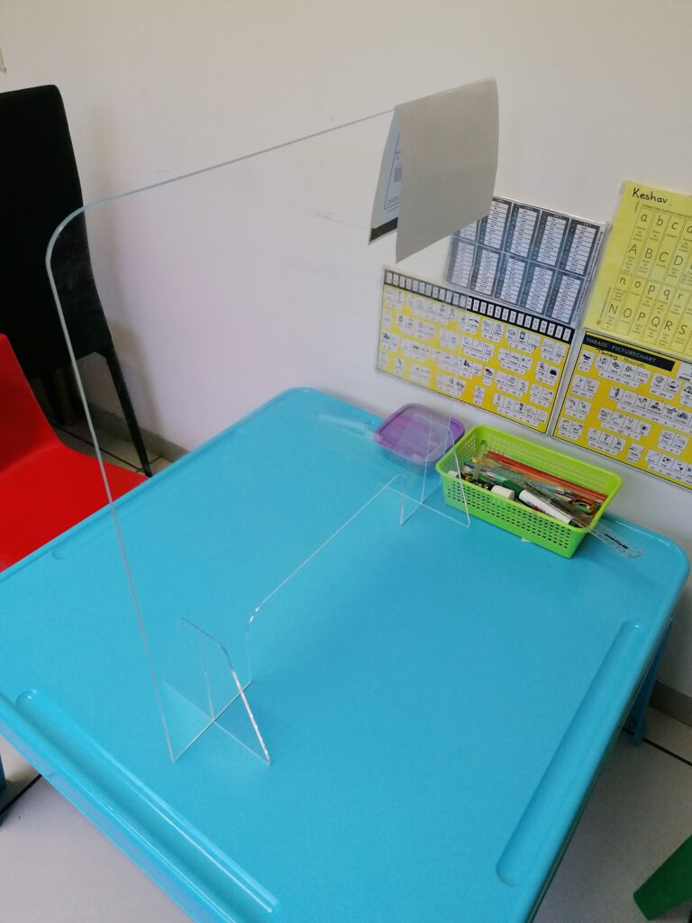 The speech therapy desk for children in Nishara's office.