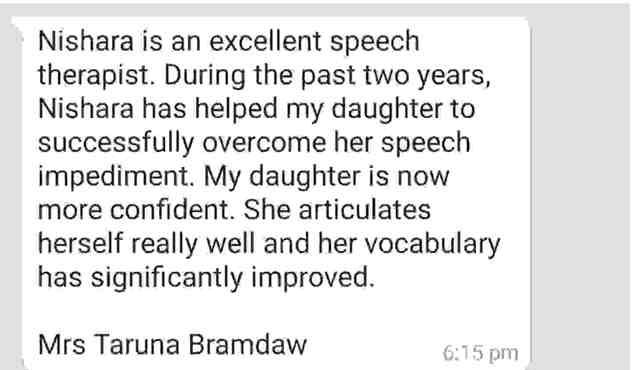 Text message of the testimonial from Taruna Bramdaw